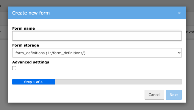TYPO3 Module Forms Create new Form