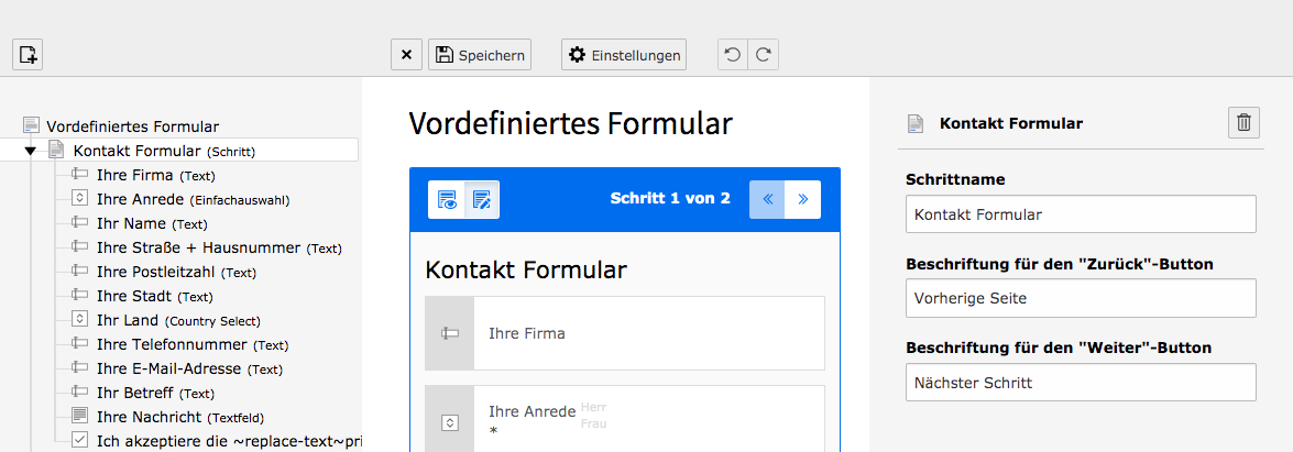 TYPO3 Modul Forms Edit Form Step