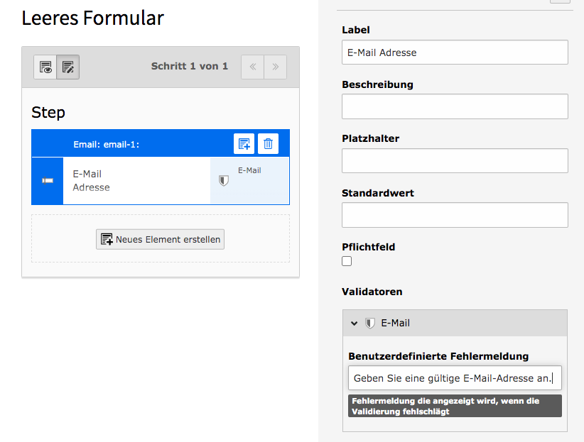 TYPO3 Modul Forms Form Element Validator EMail
