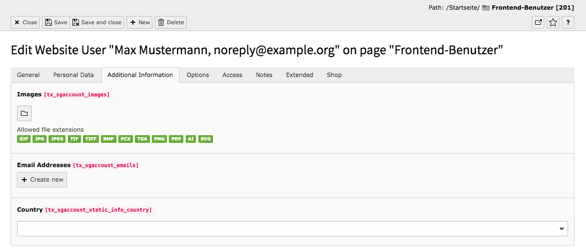 TYPO3 Module Frontend Users Tab Additional Information