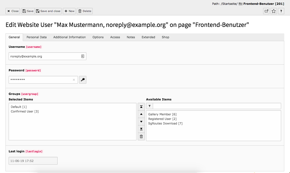 TYPO3 Module Frontend Users Tab General
