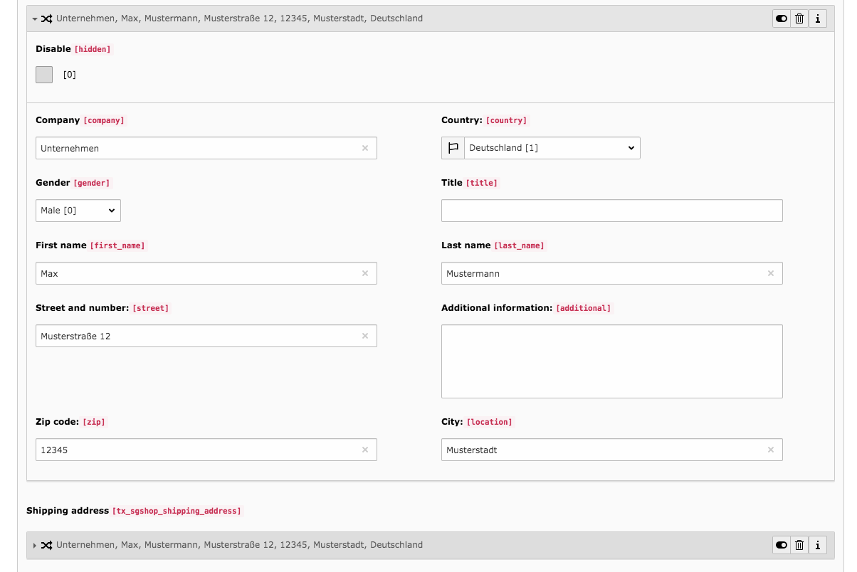 TYPO3 Module Frontend Users Tab Shop Invoice Address