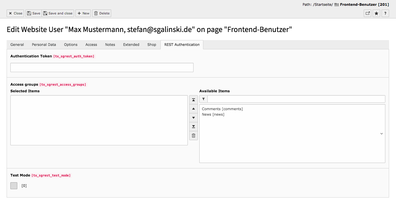 TYPO3 Backend Module Frontend Users Edit User Tab REST Authentication