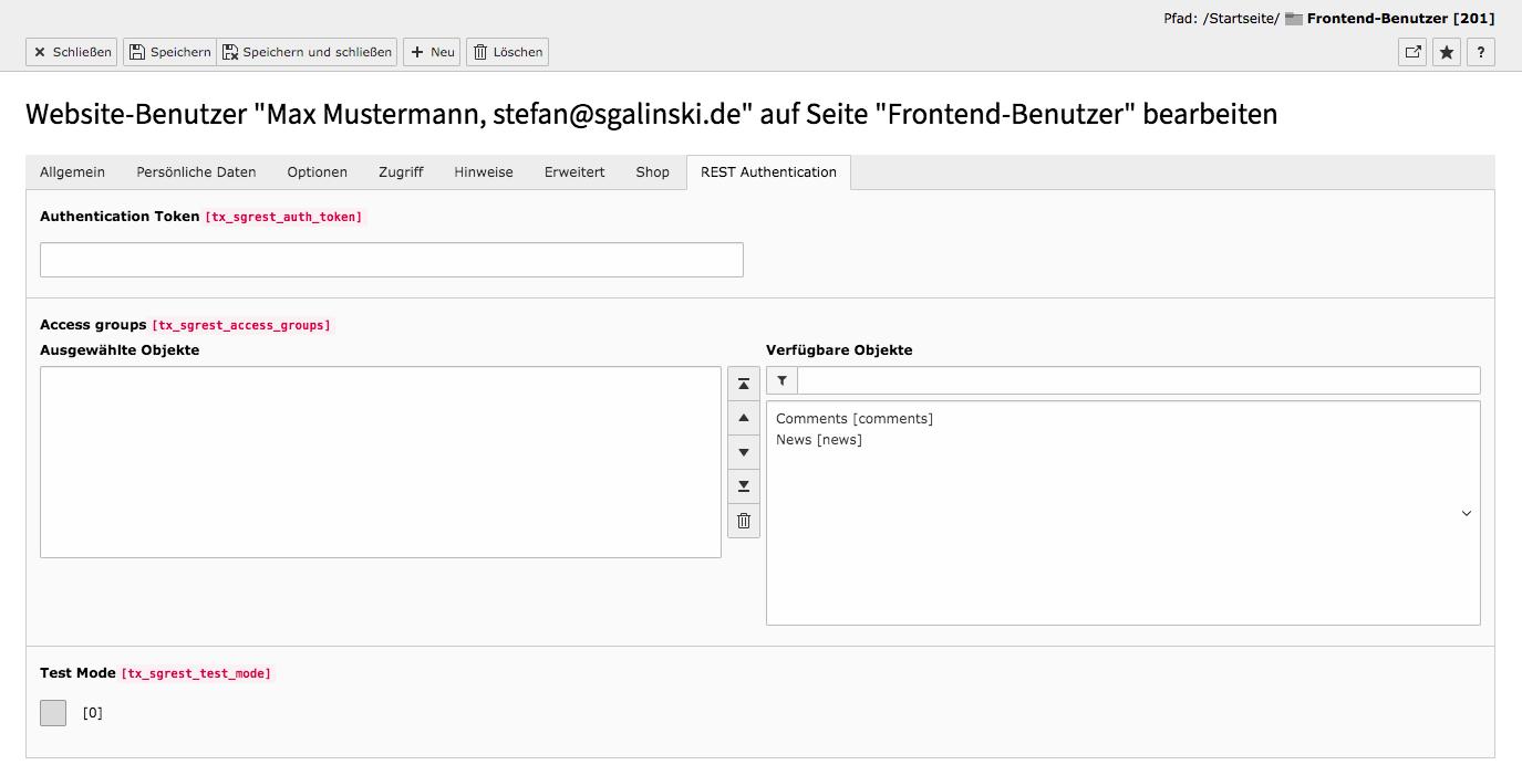 TYPO3 Backend Modul Frontend-Benutzer Benutzer bearbeiten Reiter REST Authentication