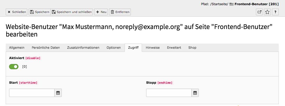 TYPO3 Modul Frontend-Benutzer bearbeiten Reiter Zugriff