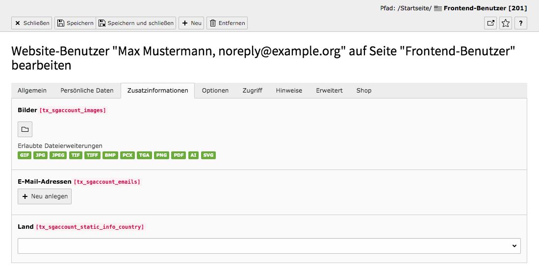 TYPO3 Modul Frontend-Benutzer bearbeiten Reiter Zusatzinformationen