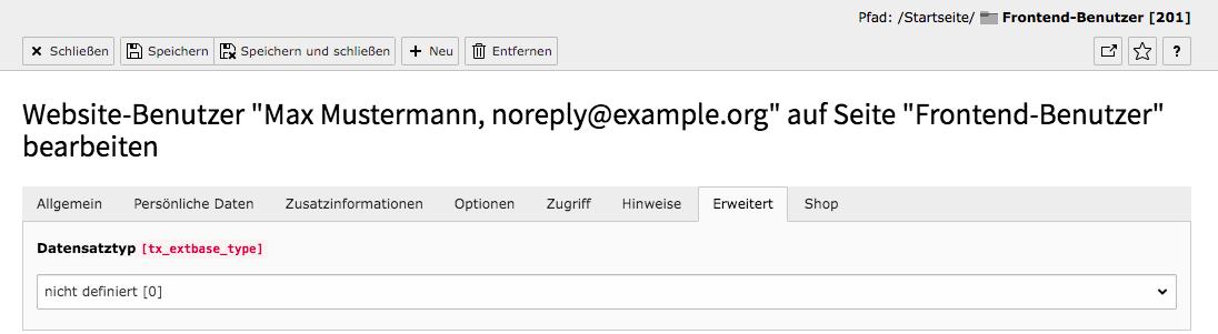 TYPO3 Modul Frontend-Benutzer bearbeiten Reiter Erweitert