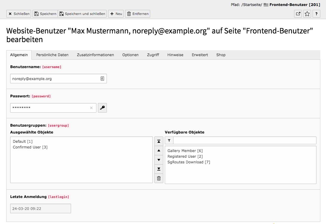 TYPO3 Modul Frontend-Benutzer bearbeiten Reiter Allgemein