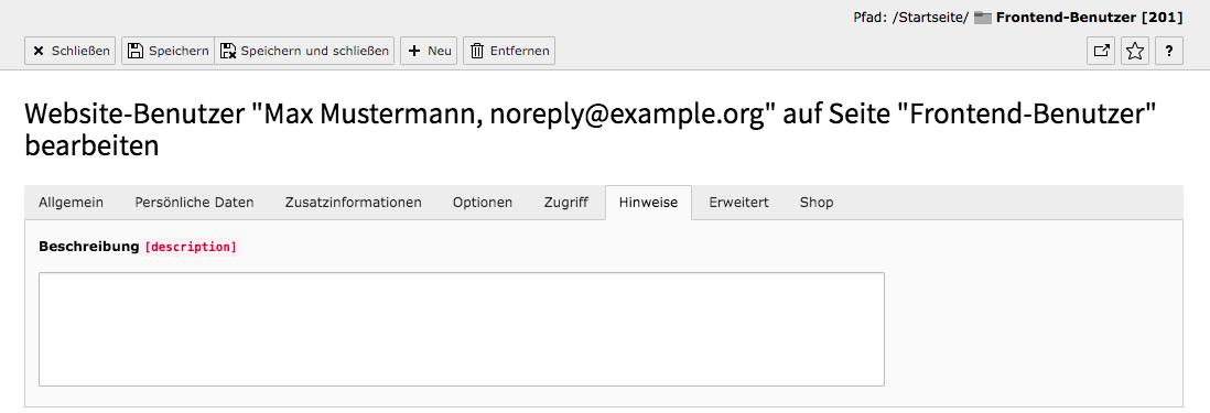 TYPO3 Modul Frontend-Benutzer bearbeiten Reiter Hinweise