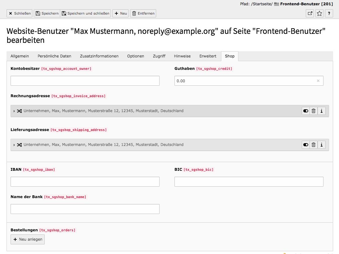 TYPO3 Modul Frontend-Benutzer bearbeiten Reiter Shop
