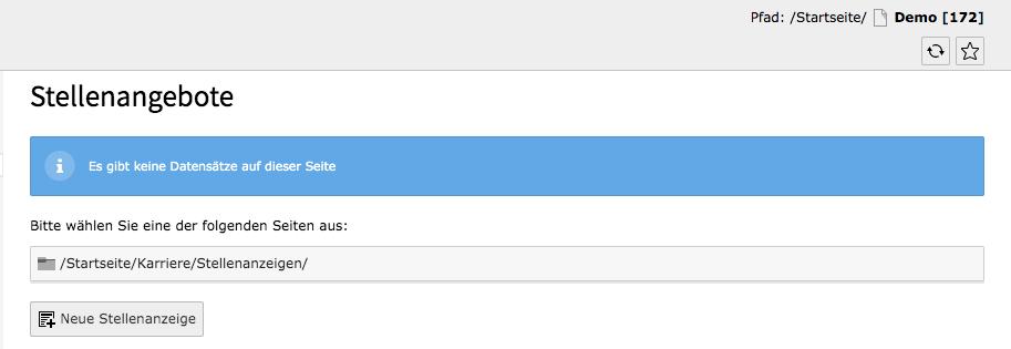 TYPO3 Modul Liste der Stellenangebote Keine Datensätze