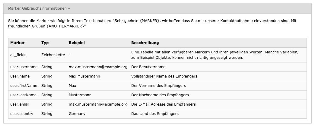 TYPO3 Modul Mail-Templates Template-Marker Gebrauchsinformationen