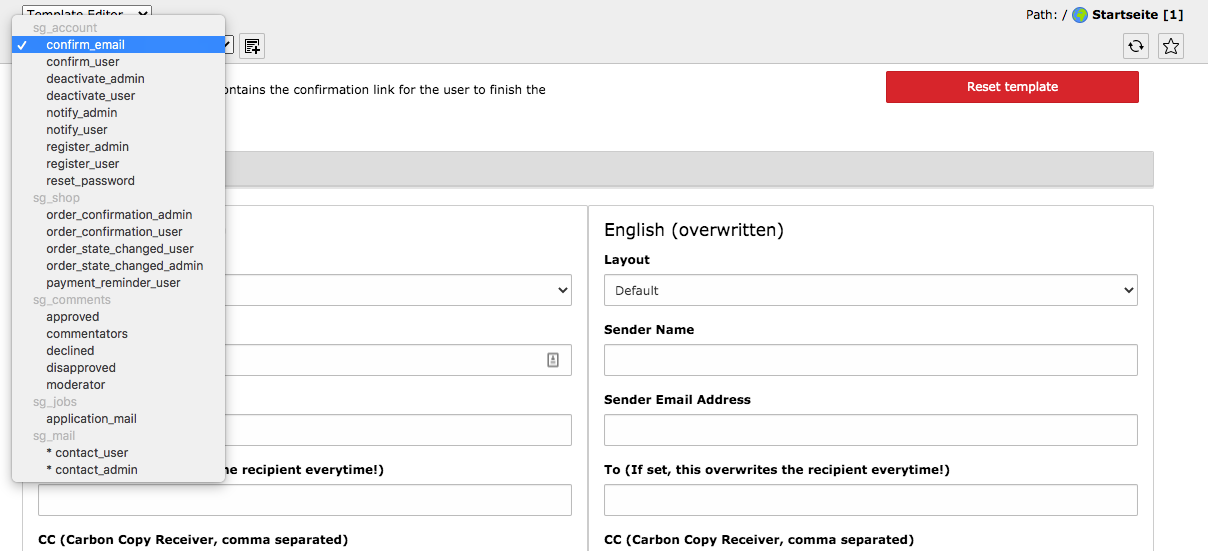TYPO3 Module Mail Templates Available Templates