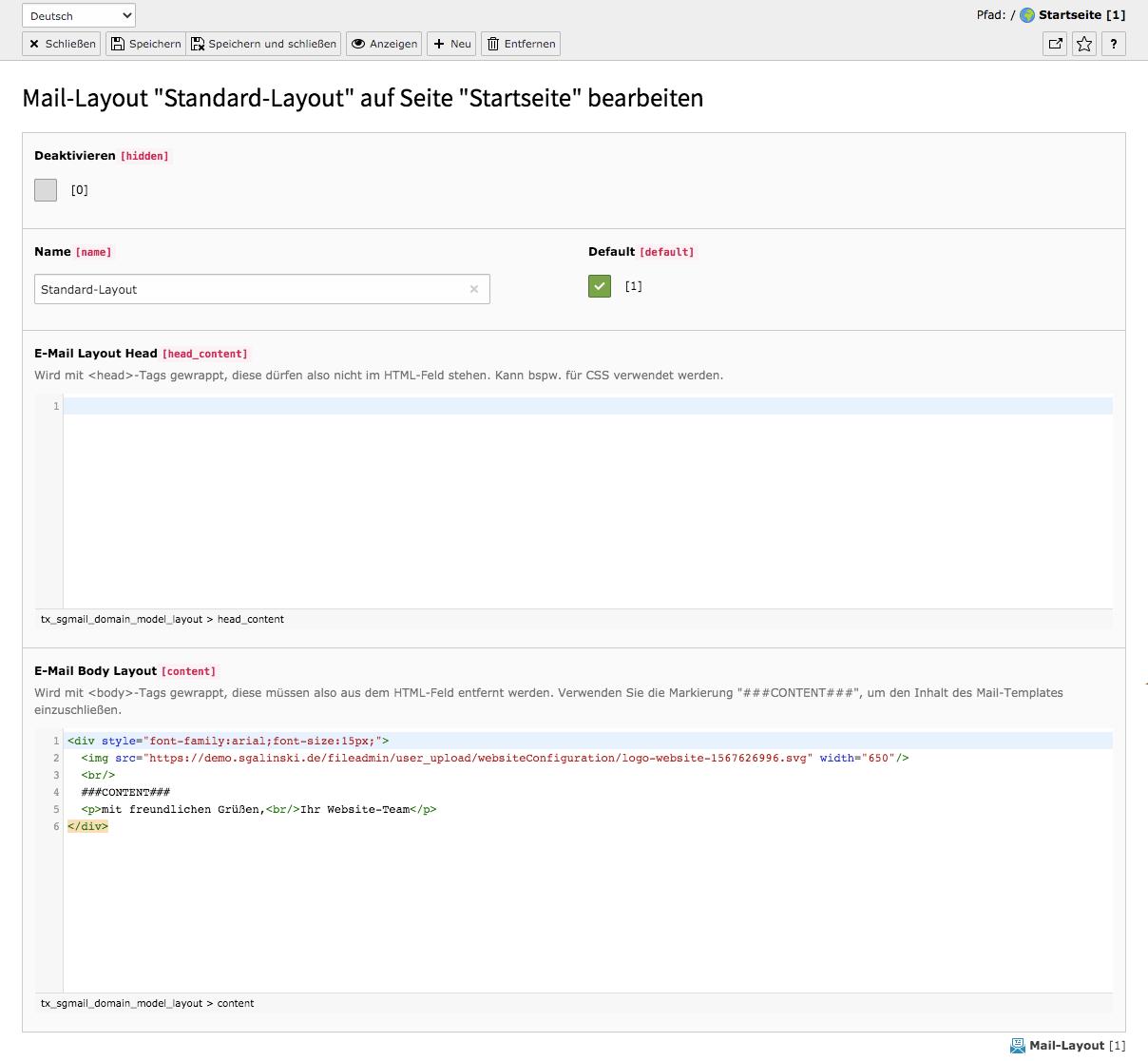 TYPO3 Modul Mail-Templates Template-Layout bearbeiten