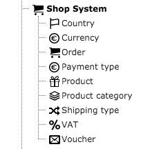 TYPO3 Module List Shop System Elements