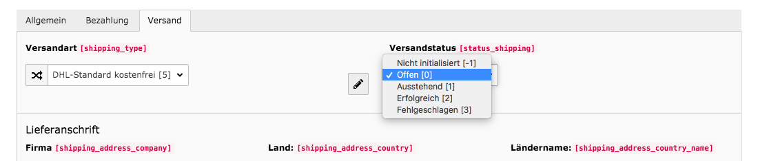 TYPO3 Modul Bestellungen Reiter Versand Status