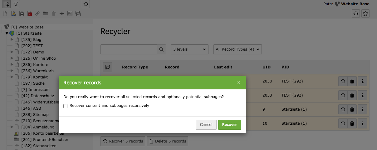 TYPO3 Module Recycler Recover Records