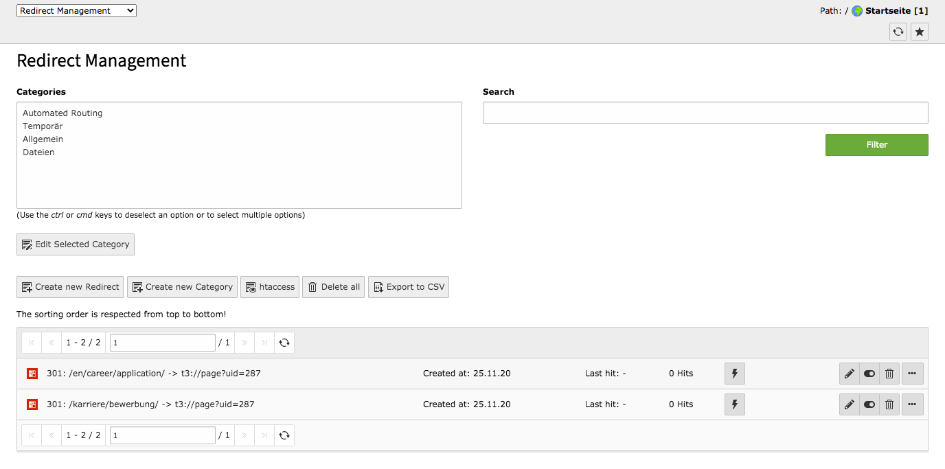 TYPO3 Backend Module Redirects Redirect Management