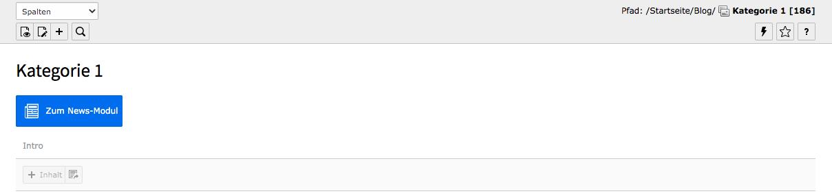 TYPO Kategorie-Seite Inhaltsbereich Button Zum News-Modul