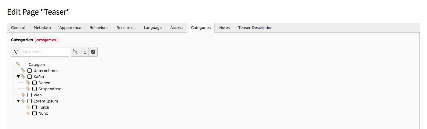 TYPO3 Edit Page Properties Tab Categories