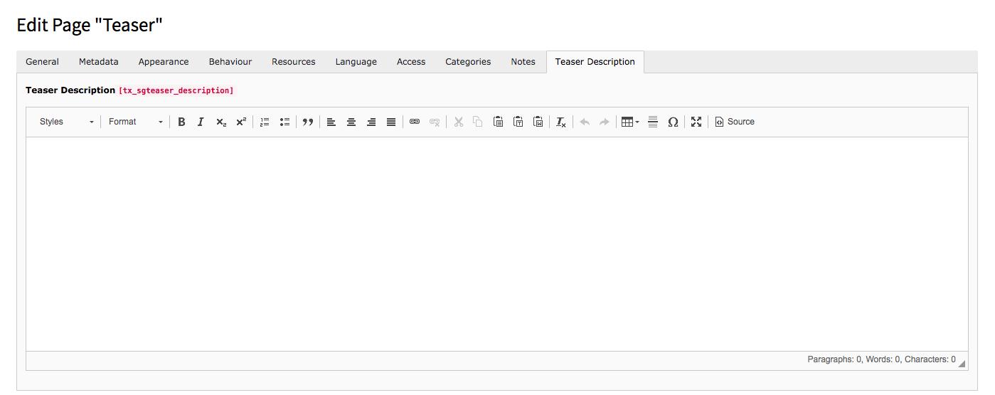 TYPO3 Edit Page Properties Tab Teaser Description