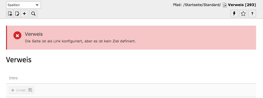 TYPO3 Verweis Seite Hinweis kein definiertes Ziel