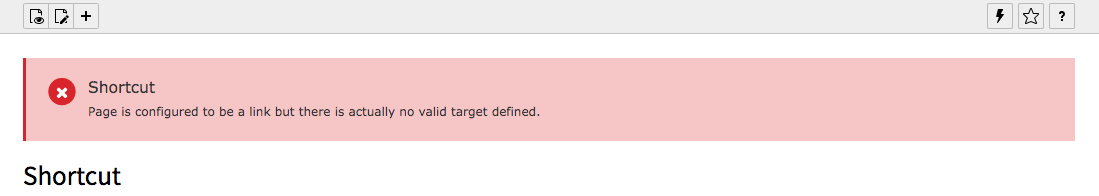 TYPO3 Shortcut Page Note no target