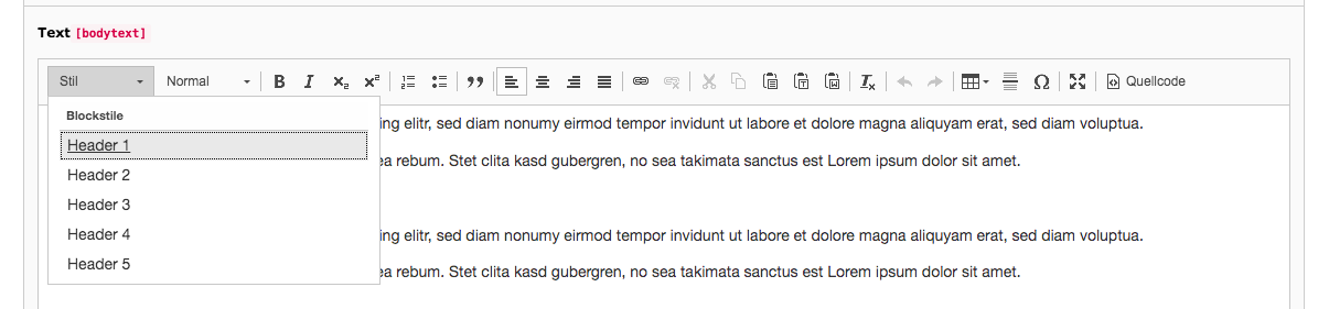 TYPO3 Rich Text Editor Block Styles Backend