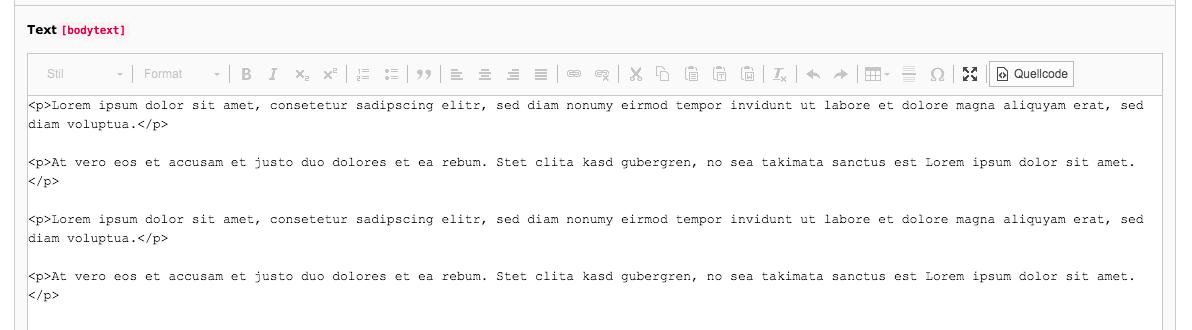 TYPO3 RTE Rich Text Editor Quellcode