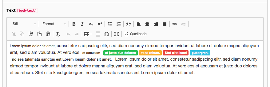 TYPO3 Rich Text Editor Inline Styles Backend
