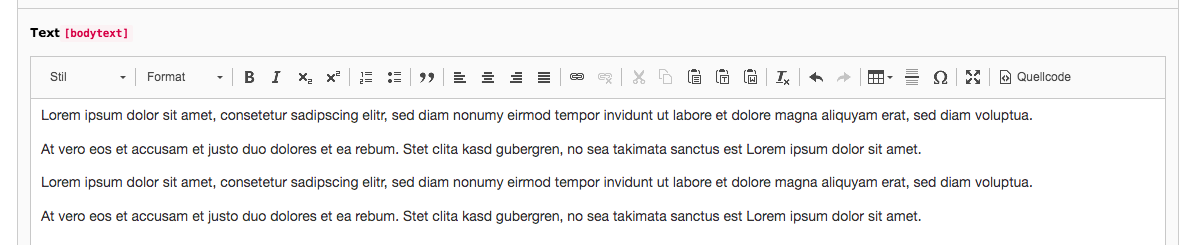 TYPO3 RTE Rich Text Editor with Text