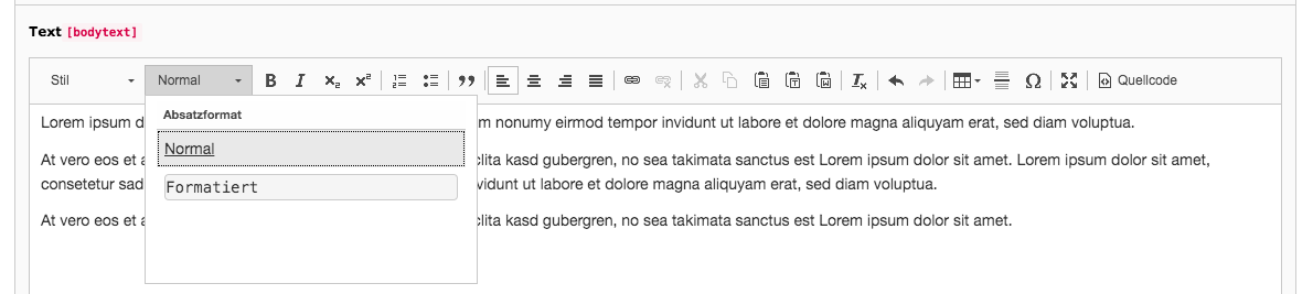 TYPO3 Rich Text Editor Paragraph Format Backend