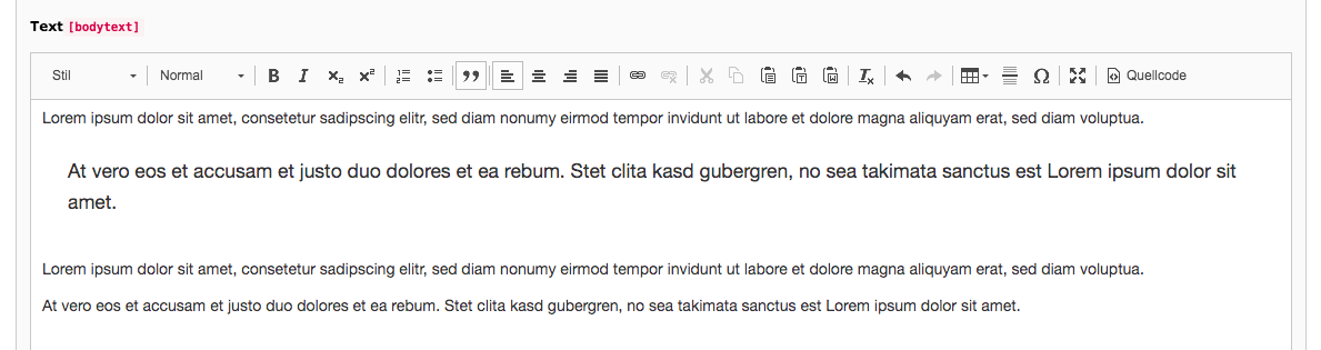 TYPO3 Rich Text Editor Quote Backend