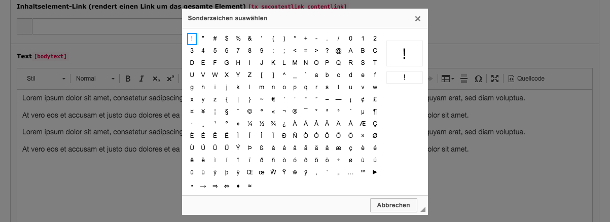 TYPO3 RTE Rich Text Editor Special Characters