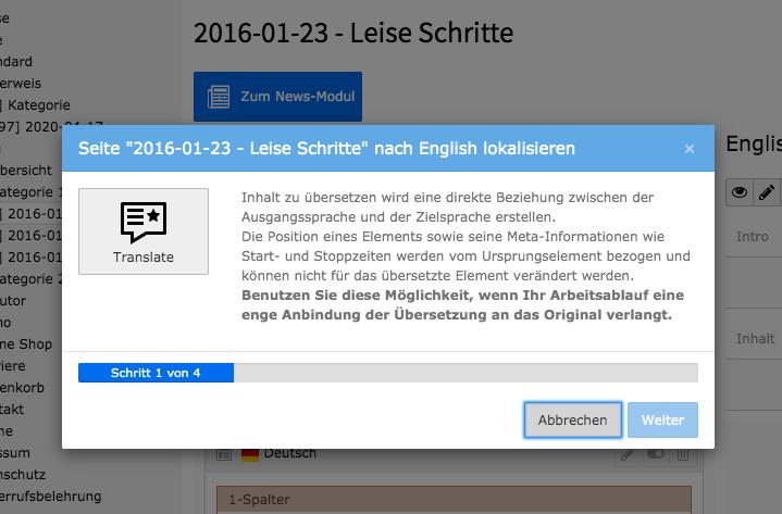TYPO3 Seiteninhalte übersetzen