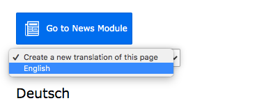 TYPO3 Create new translation of this page English