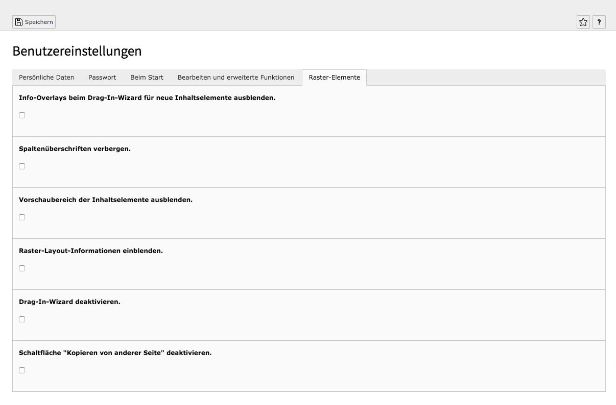 TYPO3 Benutzereinstellungen Raster-Elemente