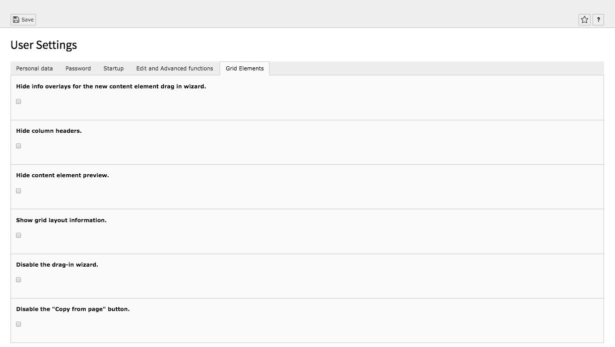 TYPO3 User Settings Tab Grid-Elements