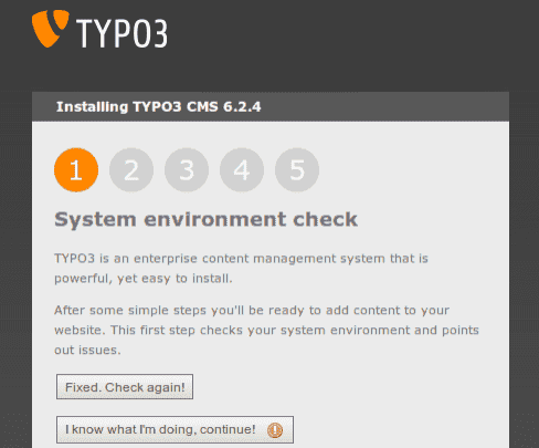 Fehlerhafter TYPO3 Sytem environment check